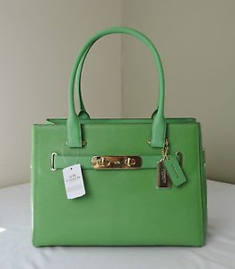 Coach Swagger Pebble Leather Light Green Satchel Handbag New