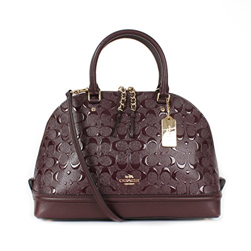 Coach Sierra Dome Satchel in Signature Debossed Patent Leather F55449 Oxblood