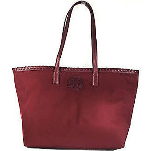 Tory Burch Marion Nylon East West Small Tote Handbag – Cabernet Red