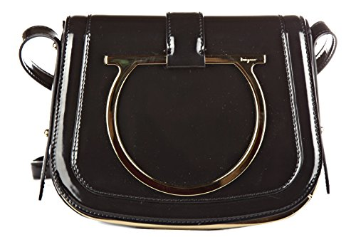 Salvatore Ferragamo women's leather cross-body messenger shoulder bag sabine bla
