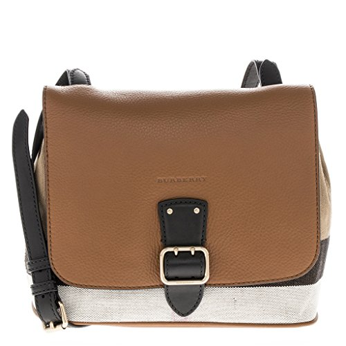Burberry Women's Canvas Check and Leather Crossbody Bag Tan