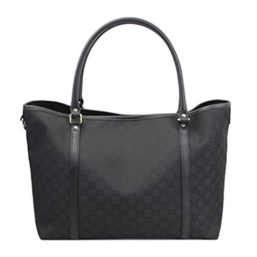 Gucci Women's Large Black Canvas Leather Trimmed Guccissima Print Tote 265696