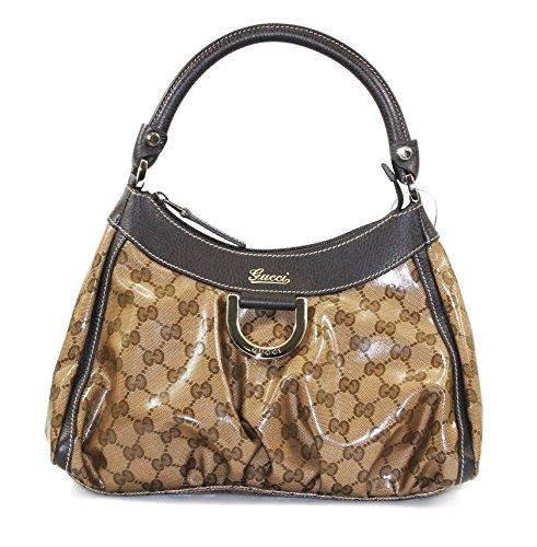 GUCCI GG Crystal Small D Ring Hobo Bag, Beige/Ebony 296018