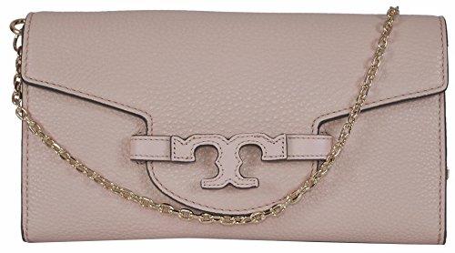 Tory Burch Women's Lena Leather Clutch W/Detachable Chain (Light Oak)