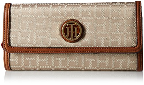 Tommy Hilfiger Women's TH Serif Signature – Large Flap Wallet Khaki Tonal Wallet