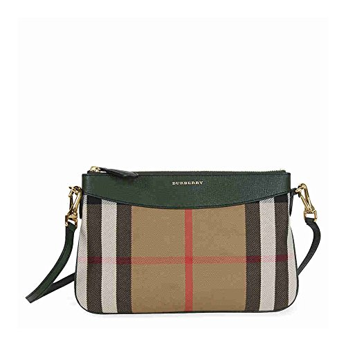 Burberry Horseferry Check Leather Clutch – Dark Bottle Green