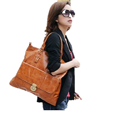 T2C: Trendy Woman's Brown Shoulder Tote Bag With Brass Button Look cool style