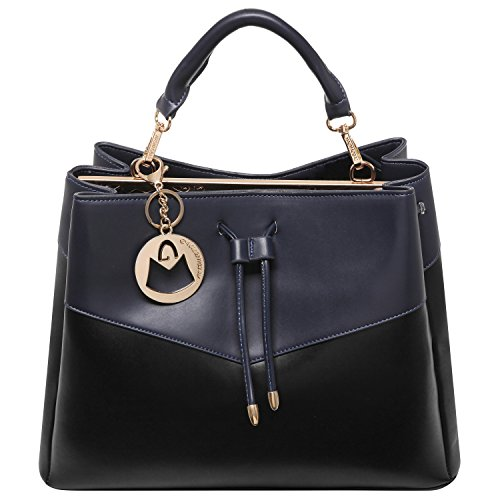 MG Collection ADA Two-Tone Navy & Black Shoulder Satchel Bag / Office Tote Purse