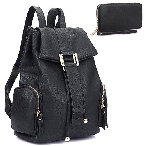 MMK collection Women Fashion Drawsrting Backpack with wallet (2443)~Designer Purse for Women ~Multi Pocket Backpack~ Beautiful Designer Handbag Set