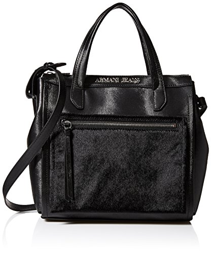 Armani Jeans Eco Pony Hair and Eco Leather Tote with Zipper Closure, Black
