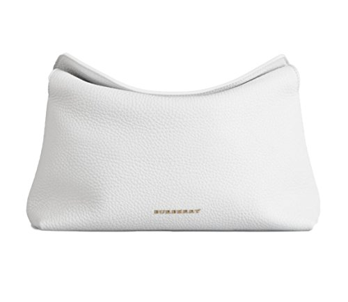 Burberry Women's White Grainy Leather Clutch Handbag