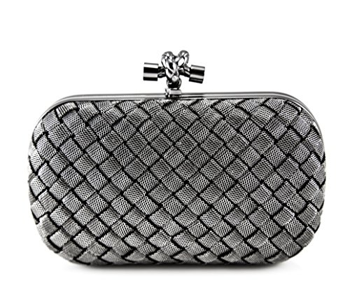 Bottega Veneta knot clutch in silver intreccio 113085