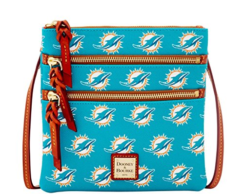 Dooney and Bourke Miami Dolphins Triple Zip Crossbody Handbag