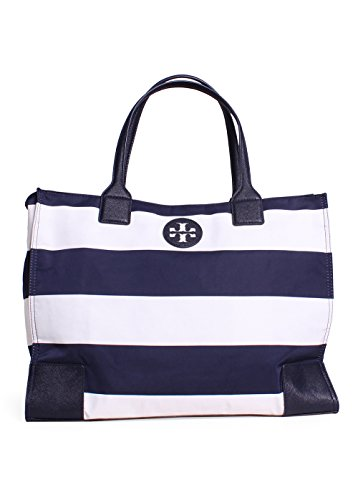 Tory Burch Ella Packable Tote in Navy Bar Stripe