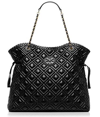 Tory Burch Marion Quilted Slouchy Tote in Black