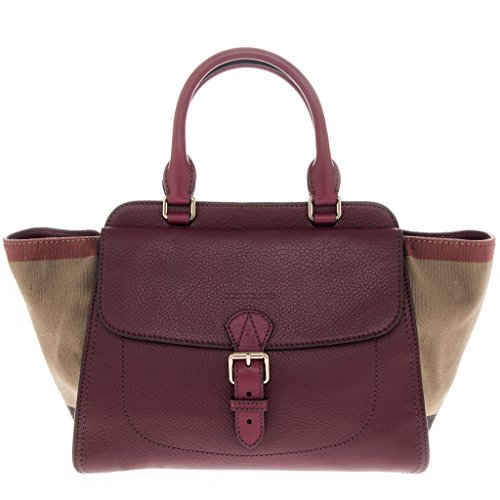 Burberry Women's Medium Leather and Cotton Check Tote Bag Red