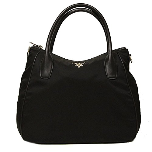 PRADA Tessuto Soft Calf Leather And Nylon Black Handbag BR4992 Hobo Bag