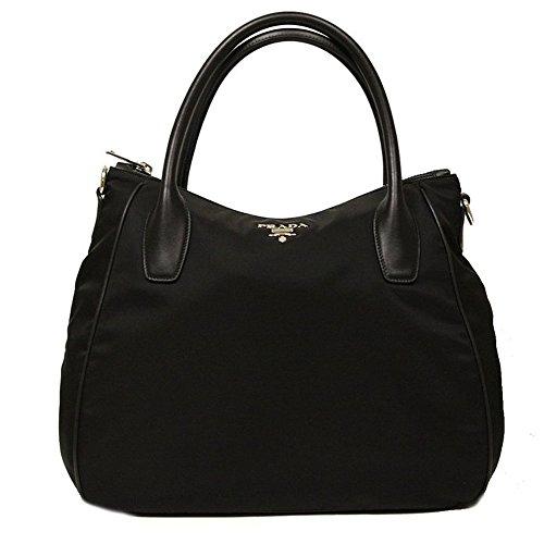 PRADA Tessuto Soft Calf Leather And Nylon Black Handbag BR4992 Hobo Bag