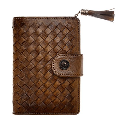 ZLYC Handmade Woven Leather Short Clutch Fringe Wallet Purse Card Case Holder with Cute Tassel Charm