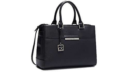 Calvin Klein womens valerie triple compartment tote shoulder bag handbag black color