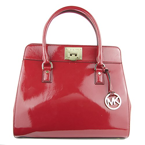 Michael Kors Astrid Large Leather Satchel in Red