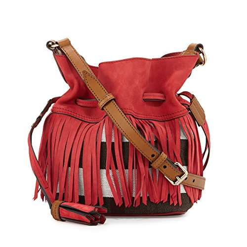 Burberry Canvas Check Fringe Ashby Windsor Red Crossbody Handbag