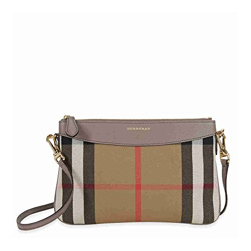 Burberry Horseferry Check Leather Clutch – Thistle Grey