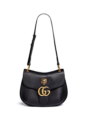 Gucci Women's Black gg Marmont Medium Brass Tiger Leather Shoulder Bag New