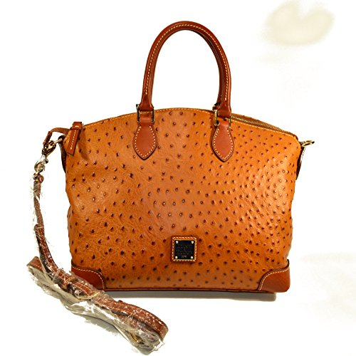 Dooney & Bourke Ostrich Embossed Leather Satchel Tan