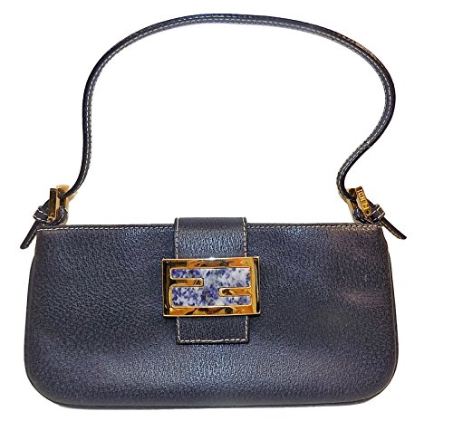 Fendi Handbag Navy Blue Leather Purse