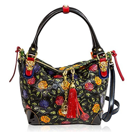 Marino Orlandi Italian Designer Handpainted Red Roses Leather Crossbody Bag