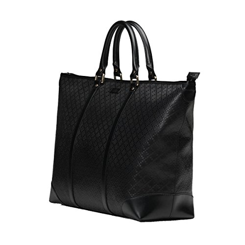 Gucci Diamante Leather Medium Zip Top Unisex Tote Bag 309413 Black