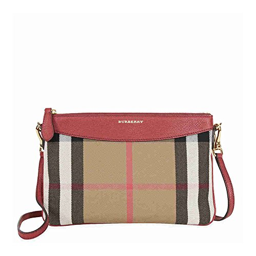 Burberry Horseferry Check Leather Clutch – Russet Red