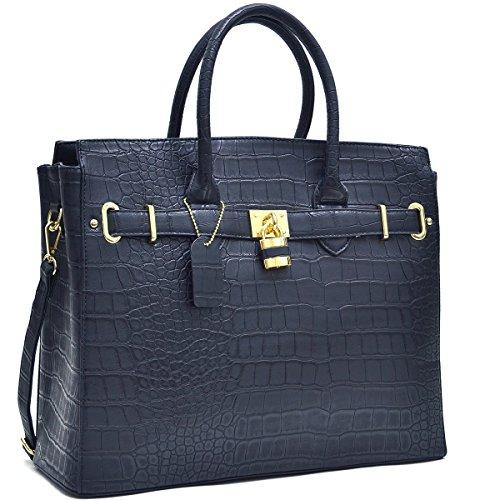 MMK collection Fashion Handbag (1006)~Croco Packlock Handbag~Perfect Beautiful Designer Purse & Women Satchel Purse