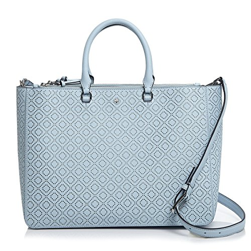 Tory Burch Tote Leather Handbag Bag Robinson Perforated Convertible Satchel Iceberg Light Blue