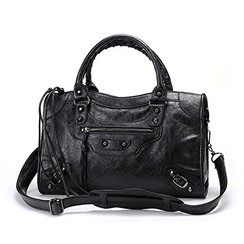 Emio Women Leather Black Studed Shoulder Bag Medium Size 13 Colors (Black)