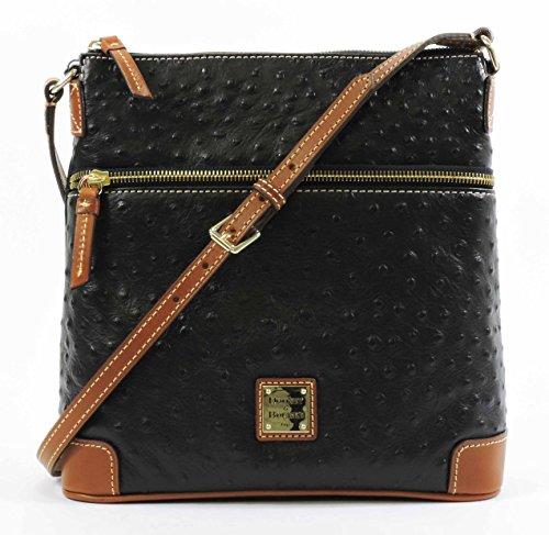 Dooney & Bourke Ostrich Emb Leather Crossbody Bag Black