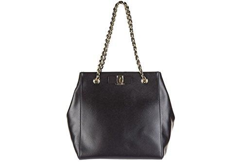 Salvatore Ferragamo women's leather shoulder bag original liny black