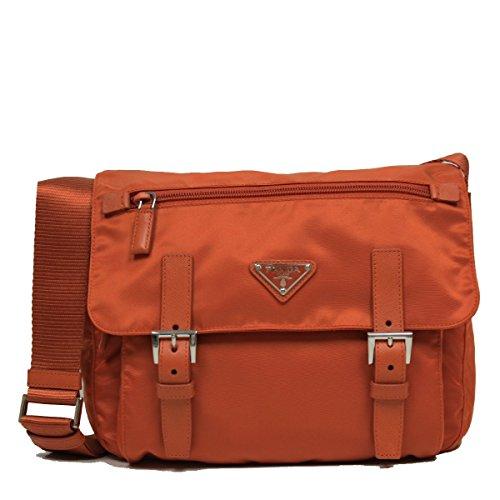 Prada Orange Tessuto Pattina Nylon Leather Cross Body Messenger Bag BT0953