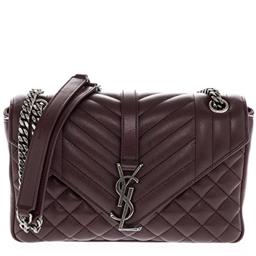 Saint Laurent Women's Medium 'Monogram College' Matelasse Stitched Flap-Quilted Shoulder Bag Bordeaux