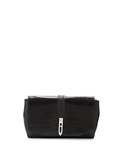 Rag & Bone Enfield Croc-Embossed Clutch Bag, Black