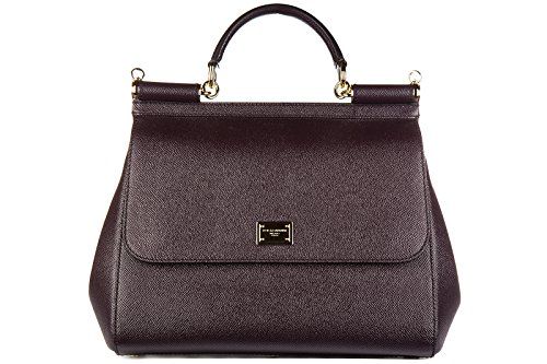 Dolce&Gabbana women's leather handbag shopping bag purse dauphine sicily purple