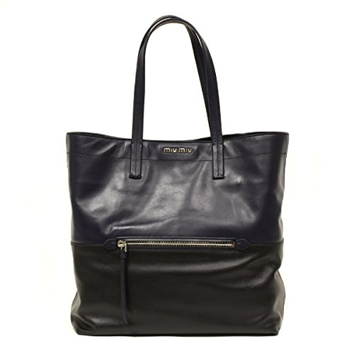 Miu Miu Navy and Black Leather Shoulder Tote Bag Rr1820