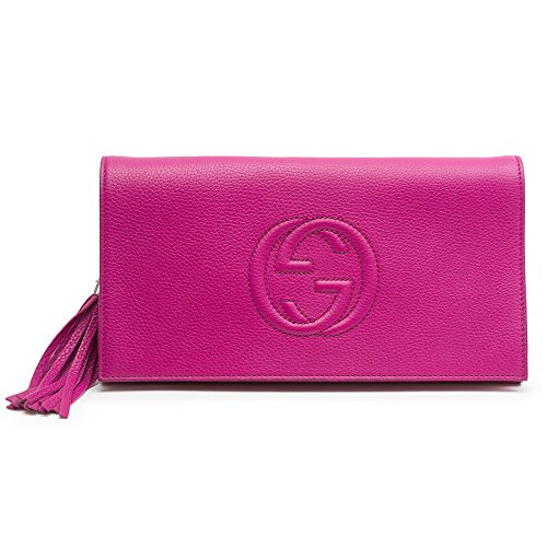 Gucci Soho leather clutch Hot Pink Bright Bouganvillea New