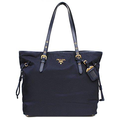 Prada BR4997 Tessuto Saffian Shopping Tote Bag Large Navy Blue Shoulder Handbag Purse