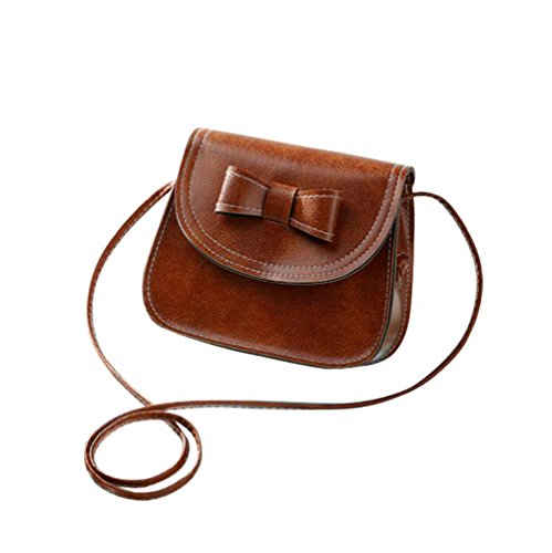 Laracca Women's Genuine Leather Cross body Bag Wristlet Handbag (Brown)