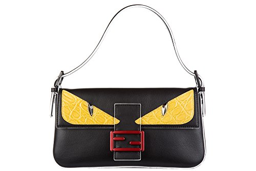 Fendi women's leather shoulder bag original baguette bag bugs black