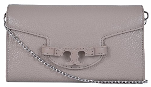 Tory Burch Women's Lena Leather T Logo Clutch W/Removable Chain (French Grey)