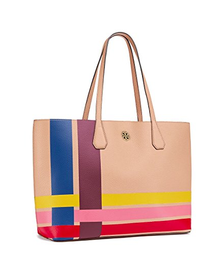 Tory Burch Leather Tote Bag Handbag Multi color Variegated Stripe