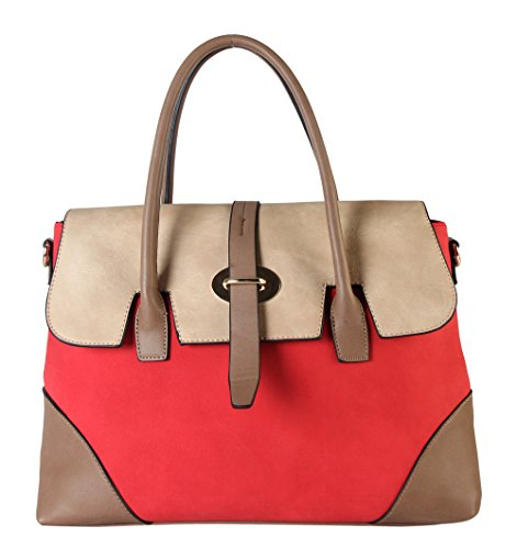 Diophy PU Leather Three Tone Zipper Closure Bayswater Womens Purse Shoulder Handbag CL-3501